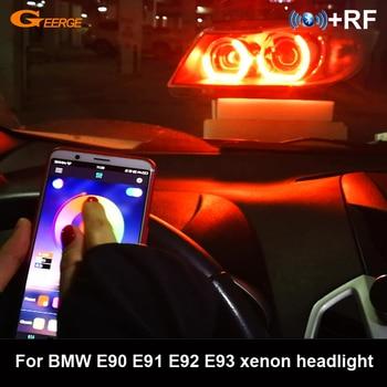 For BMW 3 Series E90 E91 E92 E93 xenon headlight RF remote Bluetooth APP crystal DTM M4 Style Multi-Color RGB LED Angel Eyes kit