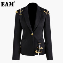 [EAM] Loose Fit Black Hollow Out Pin Spliced Jacket New Lapel Long Sleeve Women Coat Fashion Tide Autumn Winter 2019 JZ500(China)
