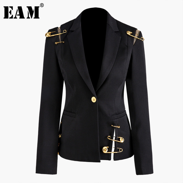 $ US $50.40 [EAM] Loose Fit Black Hollow Out Pin Spliced Jacket New Lapel Long Sleeve Women Coat Fashion Tide Spring Autumn 2020 JZ500