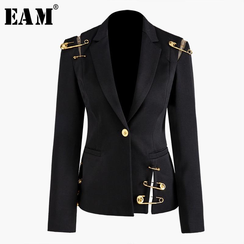 [EAM] Loose Fit Black Hollow Out Pin Spliced Jacket New Lapel Long Sleeve Women Coat Fashion Tide Autumn Winter 2020 JZ500