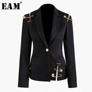 Image 1 - Женский пиджак с отложным воротником EAM, черное Свободное пальто с длинным рукавом, весна осень 2020