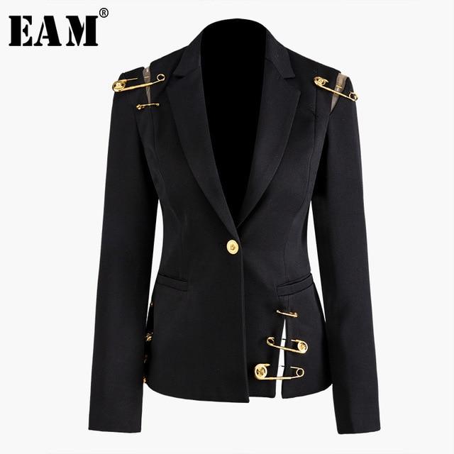 Женский пиджак с отложным воротником EAM, черное Свободное пальто с длинным рукавом, весна осень 2020