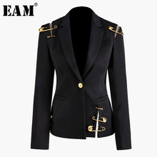 [Eam] ルーズフィット黒中空アウトピンスプライスジャケット新ラペル長袖女性のコートのファッション潮春秋2020 JZ500