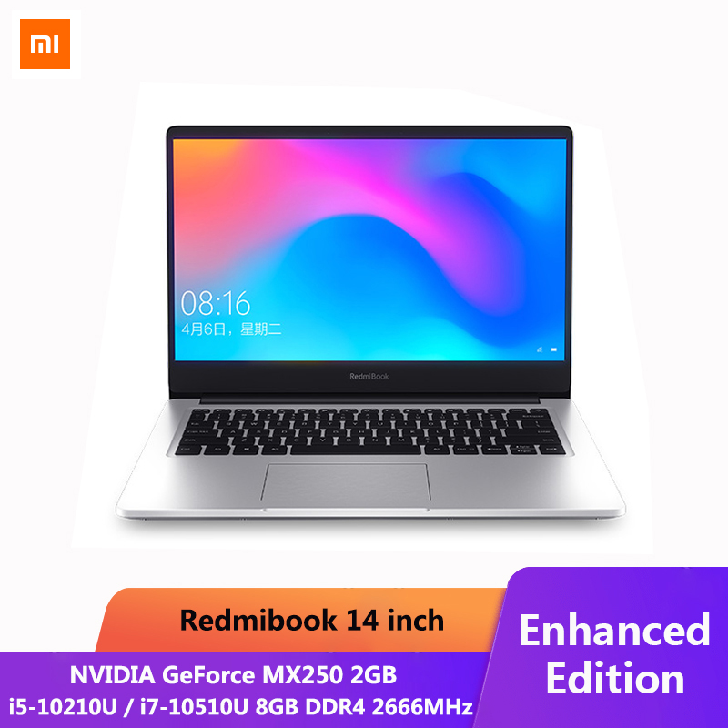 מקורי Xiaomi RedmiBook מחשב נייד Pro 14.0 אינץ i7-10510U NVIDIA GeForce MX250 8GB DDR4 RAM 512GB SSD Ultra דק מחברת כסף title=