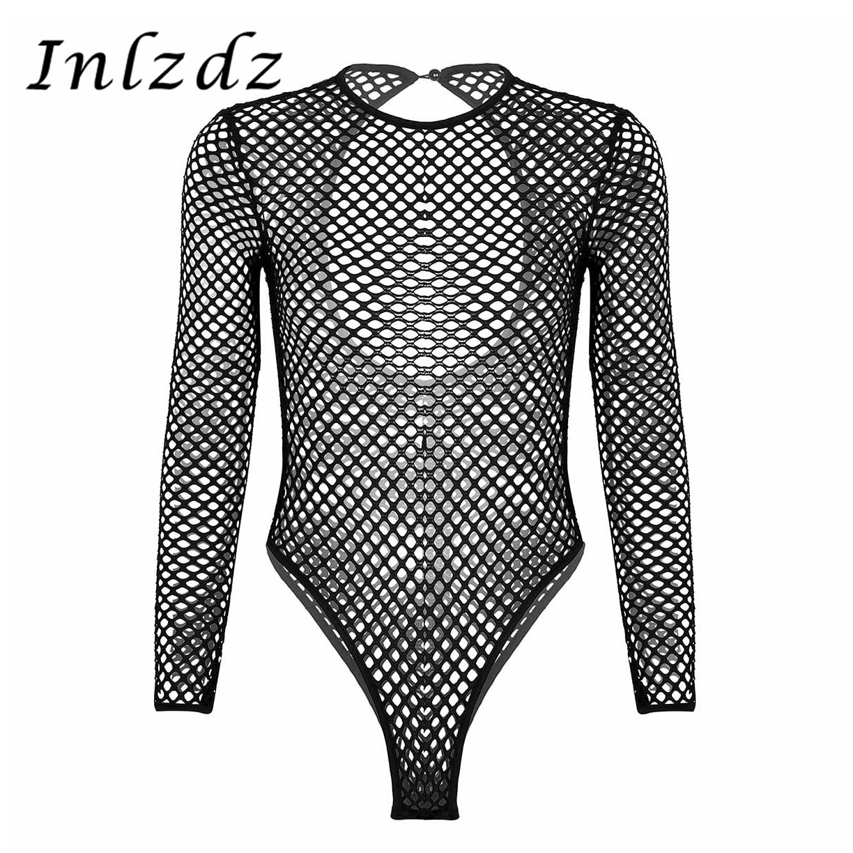 Women's Transparents Fishnet Bodysuit Sheer Lingerie Long Sleeve High Cut Tank Sex Thong Leotard Jumpsuit See ThroughBodysuit image