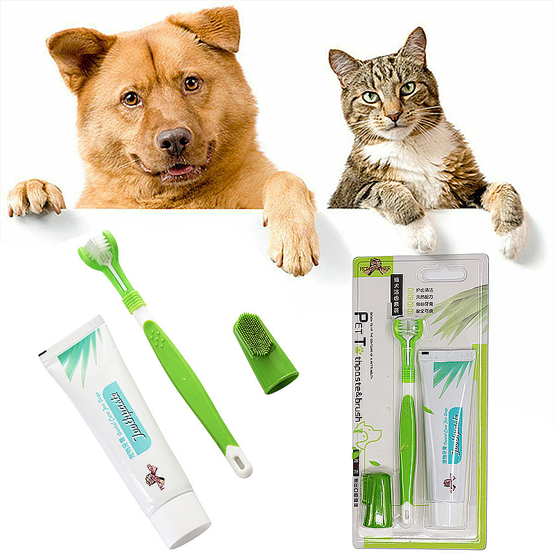 Pet Toothbrush Set Dog Cat Edible Toothpaste Oral Care Cleaning Toothbrush Addition Bad Breath Tartar Teeth Care Dog Supplie Set image