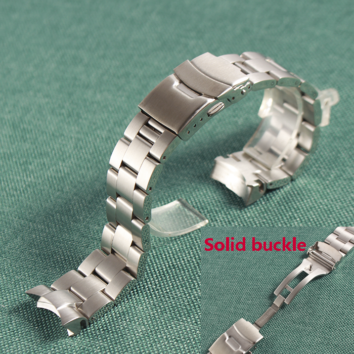Straps Stainless Steel Metal Bracelet Watch Band Strap Double Push Clasp For Seiko 22mm