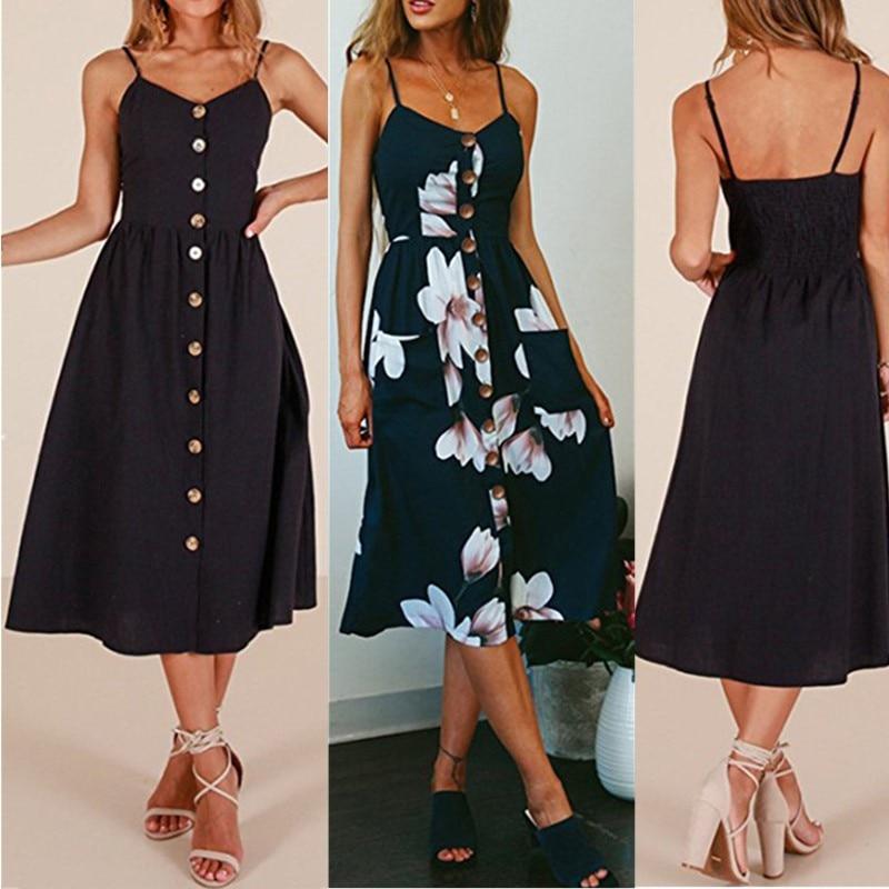 Fashion Sexy Women Sleeveless Backelss Summer Dress 2019 Black White Casual Dress Spaghetti Strap Dresses Button midi Sundress(China)