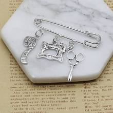 Clothing designer jewelry sewing machine brooch, tailor elegant silver charm brooch cute