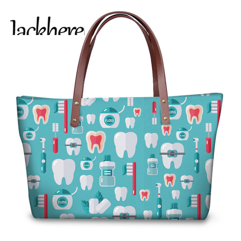 Jackherelook Dentist Print Cute Tooth Pattern Top-handle Bags Ladies Hand Bags Female Travel Shoulder Tote Bags Mujer