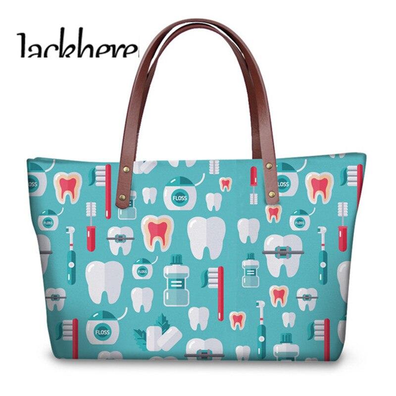 Jackherelook Dentist Print Cute Tooth Pattern Top-handle Bags Ladies Hand Bags Female Travel Shoulder Tote Bags Mujer