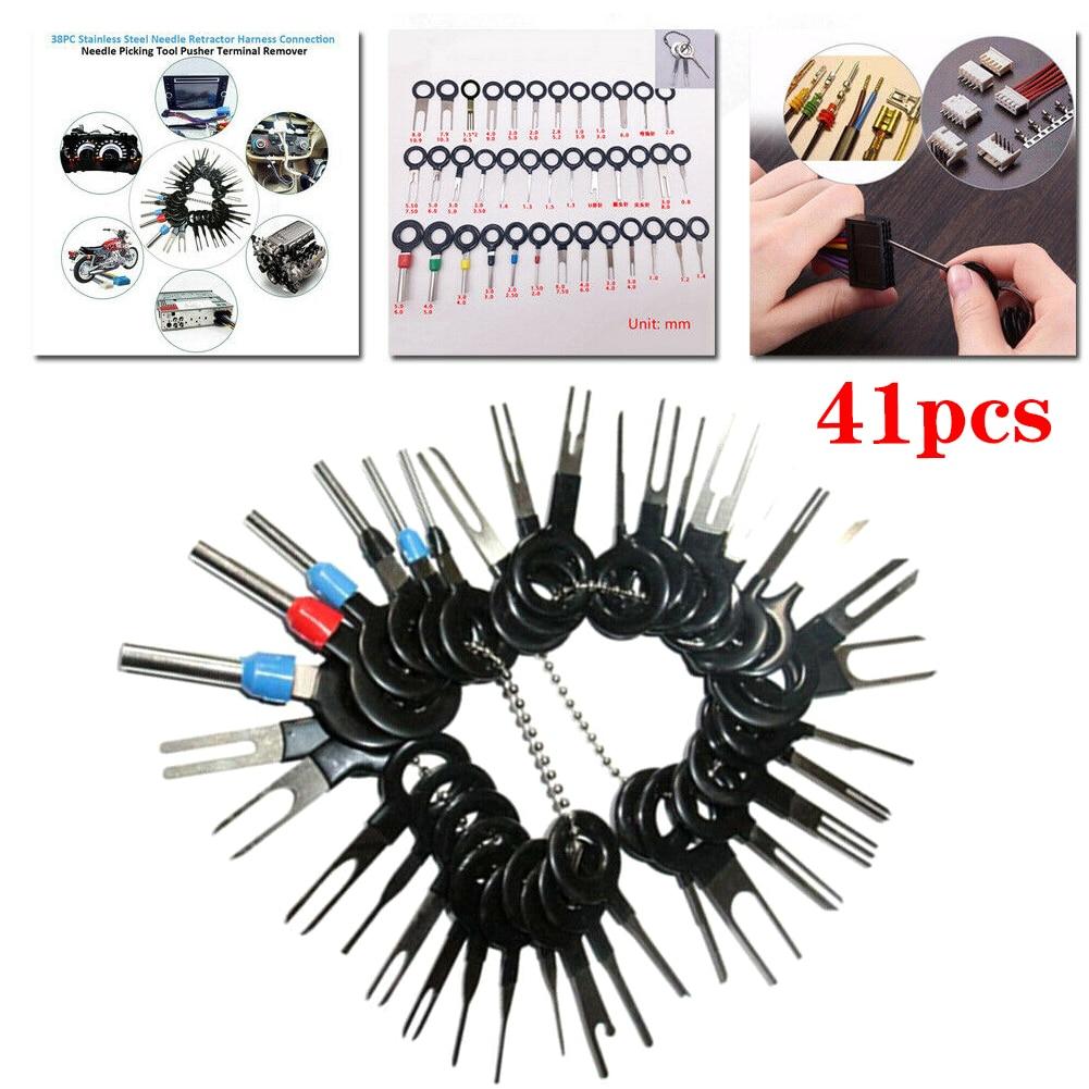 41pcs Car Terminal Removal Kit Wiring Crimp Connector Pin Extractor Puller Terminal Repair Professional Tools