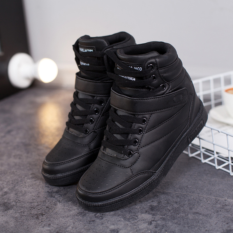 Women Sneakers Hidden Height Increasing Autumn Winter Shoes PU Leather Shoes Woman High Top White Black Shoes ST213