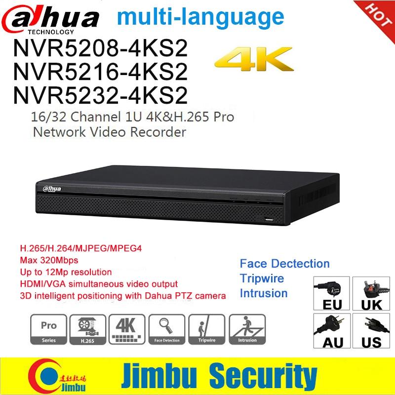 Dahua NVR 4K NVR5208-4KS2 NVR5216-4KS2 NVR5232-4KS2 para 12Mp H.265 8/16/32 canales, detección de cara Tripwire intrusión DVR IVS