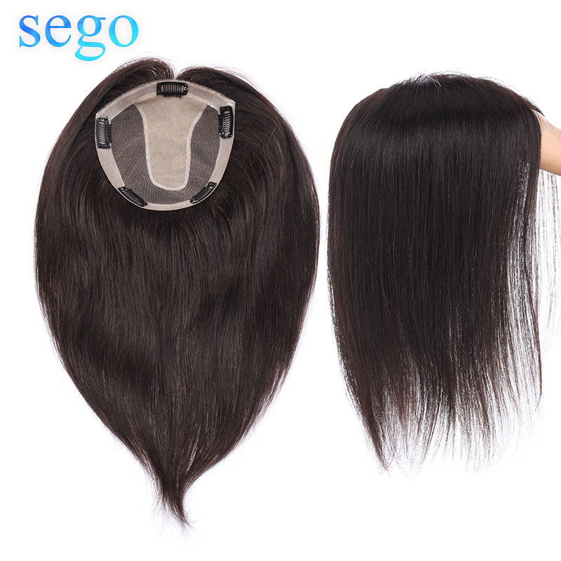 SEGO 15x16cm 10inch-22inch Straight Silk Base Hair Topper Toupee Hairpieces for Women 100% Non-Remy Human Toupee Hair for Women