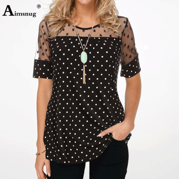 Aimsnug Plus Size 4xl 5xl Polka dot Tee Shirt Women Tops Round Neck Splice Mesh Short Sleeve Summer Casual Loose Female T-shirt polka dot ruffled longline t shirt