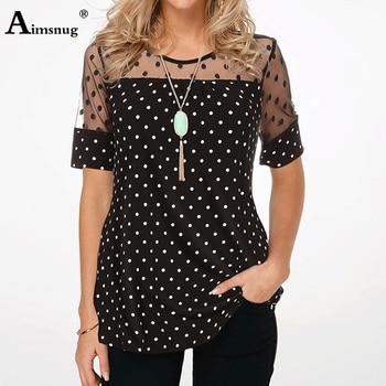 Aimsnug Plus Size 4xl 5xl Polka dot Tee Shirt Women Tops Round Neck Splice Mesh Short Sleeve Summer Casual Loose Female T-shirt адаптеры для автокресел adamex к коляскам