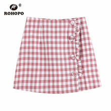 ROHOPO White Pink Plaid Side Button Overlocked Fly Ladies Mini Skirt Double Layer Flared Autumn Preppy Girl Falda #9581