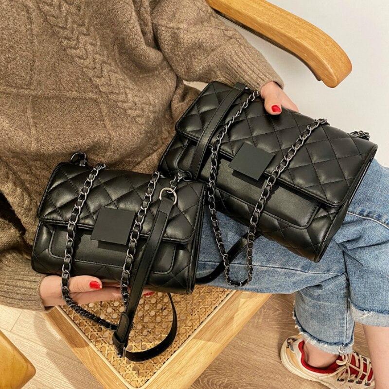 Зимняя черная стеганая Ретро маленькая сумка через плечо женская сумка 2020 Новая модная универсальная простая сумка через плечо сумка тоут|Сумки с ручками| | АлиЭкспресс - Аналоги сумок с показов мод осень-зима 2020/21