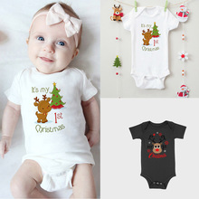 Its My 1st Christmas Baby Clothes Welcome Home Hipster s Short Sleeve Casual Shirt Unisex Baby Bodysuits Holiday Wear