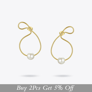 Image 2 - ENFASHION מתכת תיק צורת פרל Drop עגילים לנשים זהב צבע פשוט Curve להתנדנד עגילי תכשיטים Oorbellen E191128
