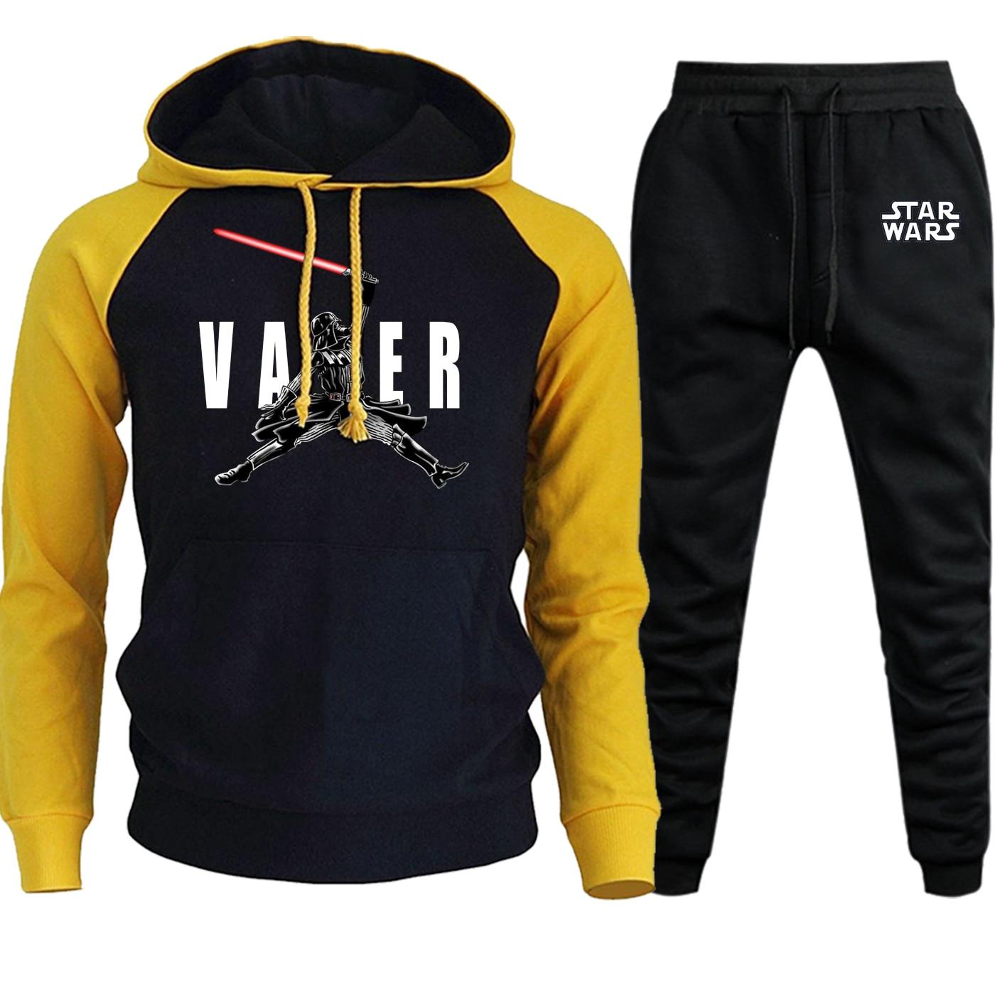 Darth Vader Star Wars Autumn Winter 2019 New Streetwear Mens Hoodies Raglan Hip Hop Suit Male Fleece Hooded+Pants 2 Piece Set