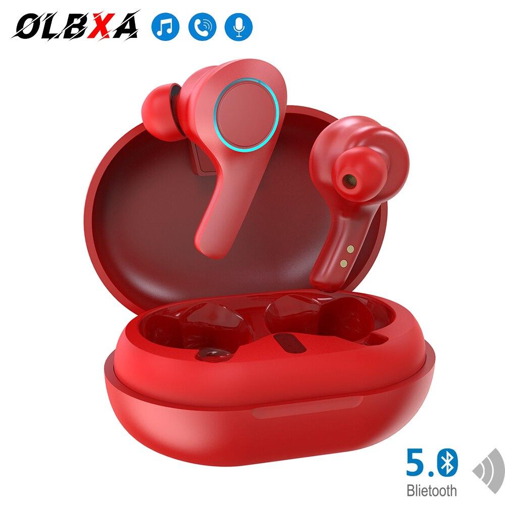 OLBXA красный; Новый дизайн; Высокое разрешение вызова наушники-вкладыши Tws Bluetooth гарнитура светодиодное УАЗ снижение Наушники Hi-Fi стерео Бесп...