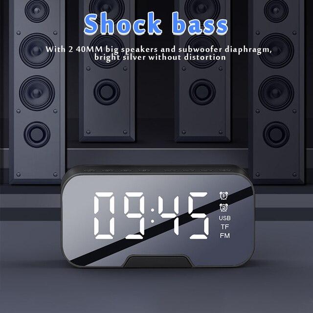 Multifunction Alarm Clock Mirror LED Alarm Clock Multifunction Wireless Bluetooth Music Player Electronic Digital Alarm Clock 3