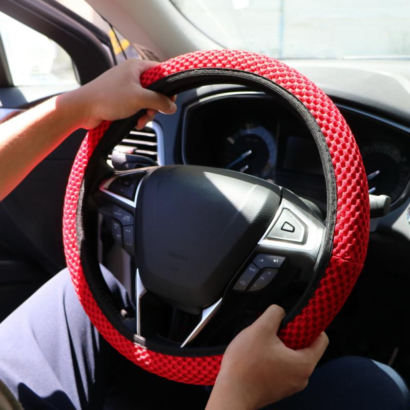 Skidproof Durable Car Steering Wheel Cover Sandwich Fabric Handmade Breathability Auto Covers Fit For Most Cars