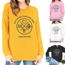 Women Save The Bees Plant More Trees Letter Print Round Neck Long Sleeve Top Sweatshirt K2 sickle skull 3d print round neck long sleeve sweatshirt