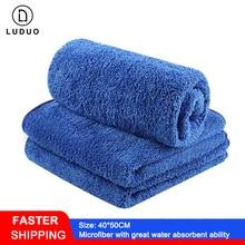 LUDUO 40*50см 3шт microfiber мытья автомобиля полотенца чистки ногтей сушки отделкой ткань мягкая абсорбент тела ремонт инструменты