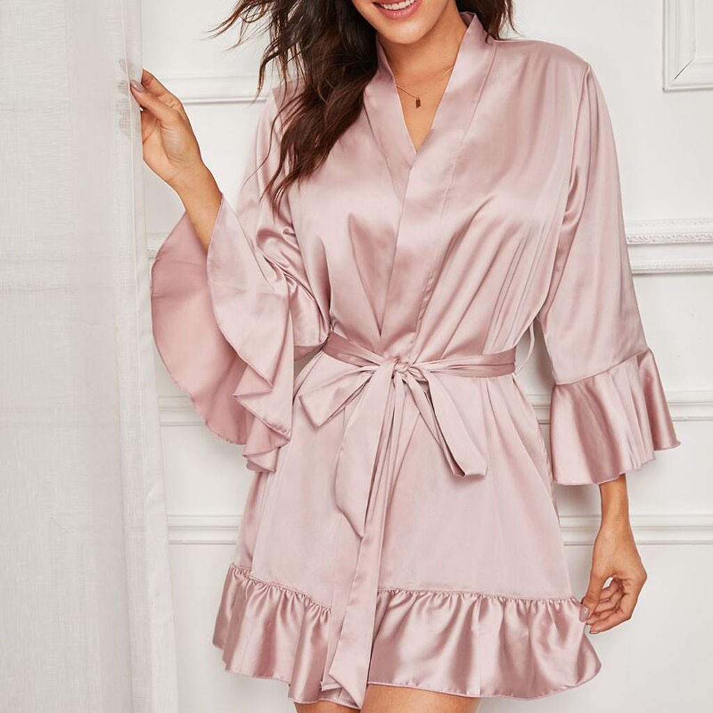 Women Sexy Silk Satin Kimono Ruffled Nightgown Robe Lingerie  Bath Robe Lady Nightwear Bathrobe Bodydoll Sleepwear Sexy Bathrobe