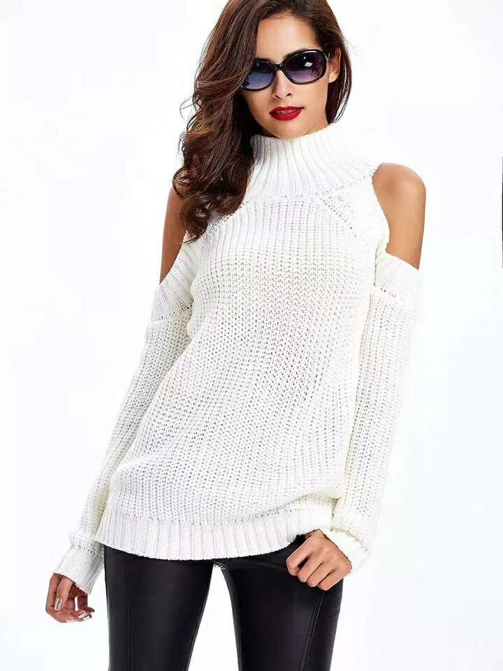 Women Autumn Sexy Exposed Shoulder Loose Knitted Sweater  1