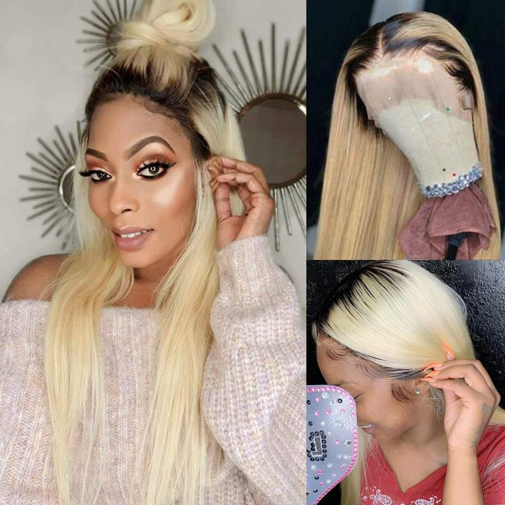 Silk Straight Ombre Blonde Human Hair Wigs 1B613 Lace Front Wig With Baby Hair Middle Part Pre Plucked Glueless 13x4 Lace Wig