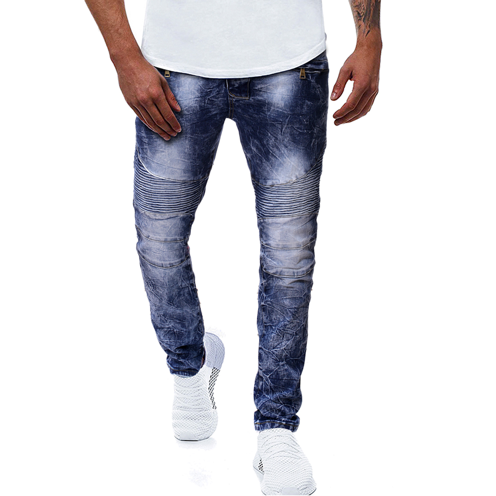 Men's Casual Fashion Snowflake Pleated Jeans