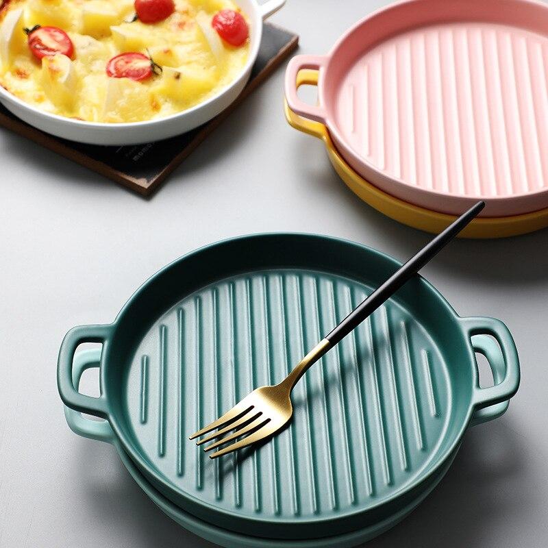 Binaural Baking Dish Pizza Dish Round Dish Plate Dish Creative Oven Ceramic Western Kitchen Tableware Microwave Oven Flat Plate