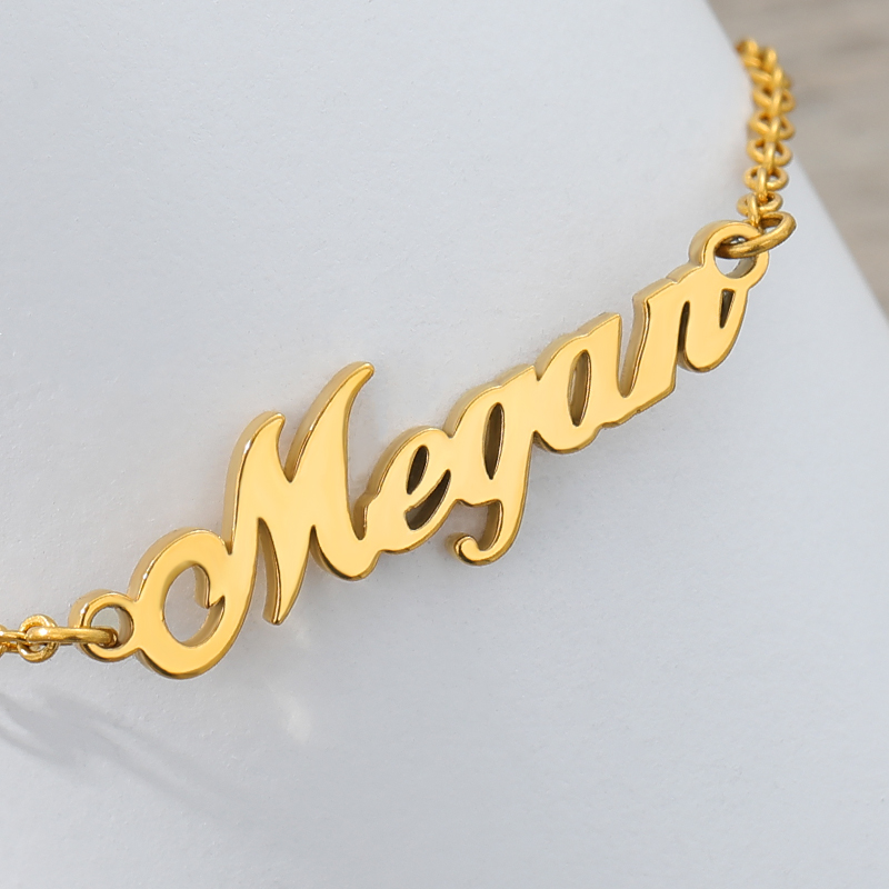 Custom Name Bracelets For Women Girls Gold Personalized Stainless Steel Engraved Nameplate Charms BFF Bracelet & Bangle Jewelry