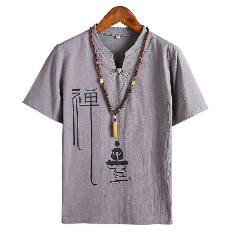Männer Kung Fu Lose Bluse Traditionellen Chinesischen Tang-anzug Cheongsam Vintage Wushu Orientalischen T-Shirts Leinen T Tops Kimono Kleidung