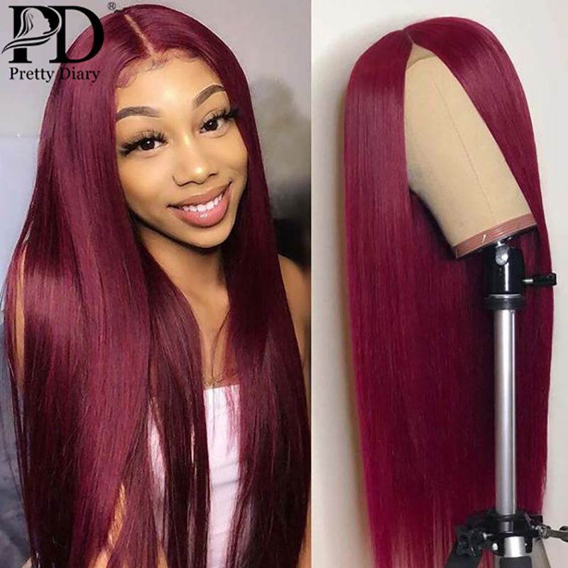 Peluca con malla Frontal Borgoña 99j, peluca de pelo Frontal de encaje recto de Color rojo 13x4, pelucas de cabello humano brasileño prearrancado para mujeres negras
