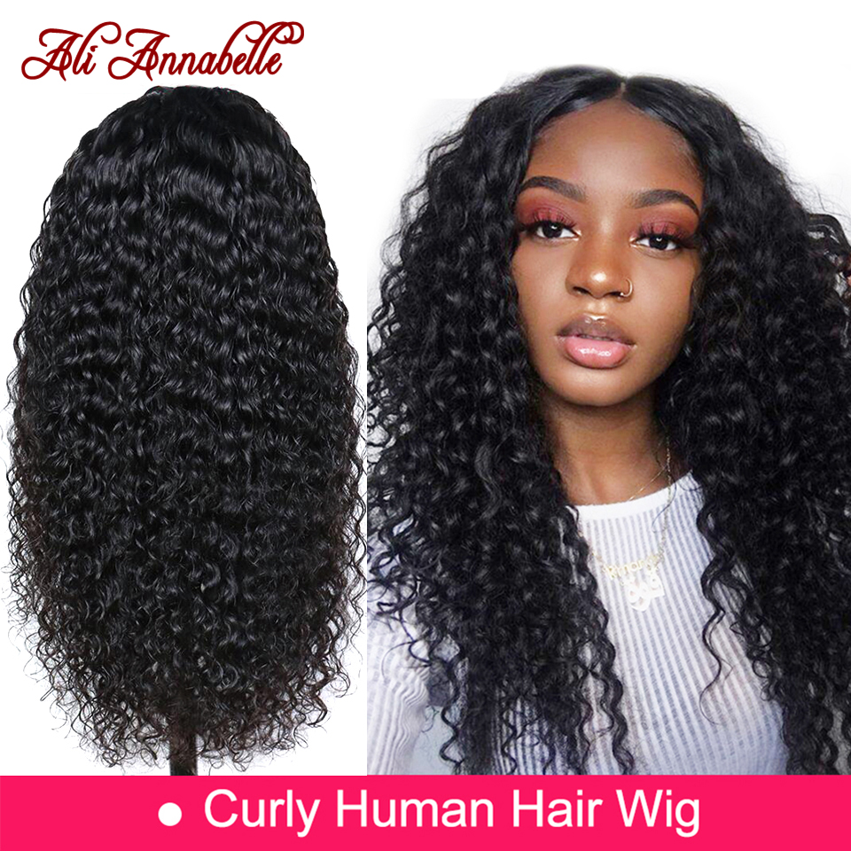 Lace Front Human Hair Wigs With Baby Hair Brazilian Curly Human Hair Wig 13*6 Human Hair Wigs ALI ANNABELLE HAIR Kinky Curly Wig-in Human Hair Lace Wigs from Hair Extensions & Wigs
