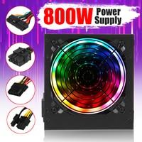 800W Power Supply 12cm Multicolor LED Fan Passive PFC Silent Fan ATX 24 pin 12V PC Computer SATA Gaming PC Power Supply|PC Power Supplies| |  -