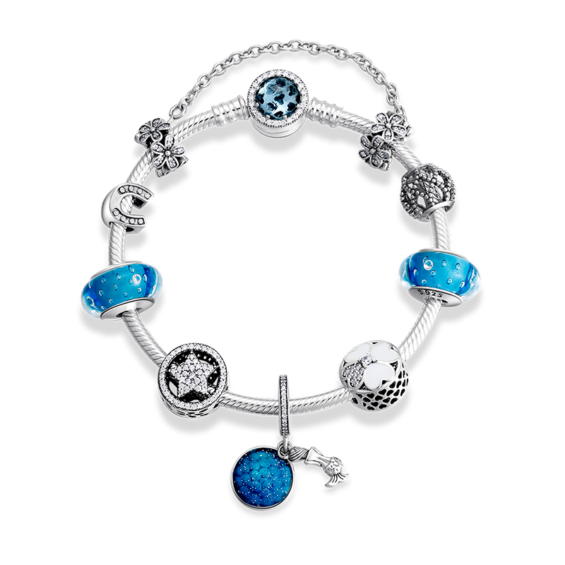 Image 2 - New 925 Sterling Silver Mermaid pendants Bracelets Blue Glass  Beads Charms Fashion woman Bracelet Bangles Luxury JewelryChain