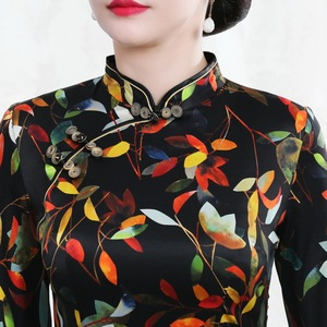 Image 4 - Autumn 2019 new mulberry silk cheongsam dress retro high end improved mid long 7 sleeve oder fashion