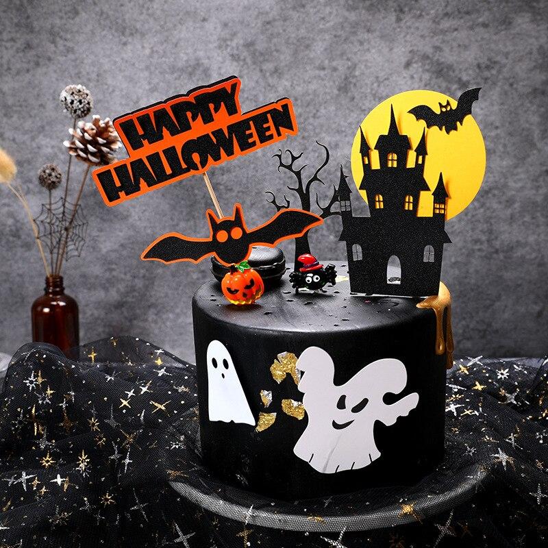 Image 4 - Halloween Cake Decoration Card Black Castle Batman Flag Pumpkin Witch Cake Dessert Topper Decoration Birthday Party Supplies-in Cake Decorating Supplies from Home & Garden