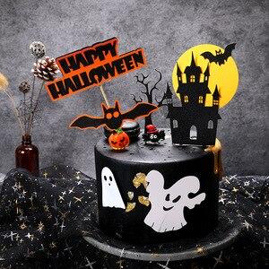 Image 4 - Halloween narzędzie do dekoracji ciast karta czarny zamek Batman flaga dyniowa wiedźma deser ciasto dekoracja na wierzch materiały urodzinowe