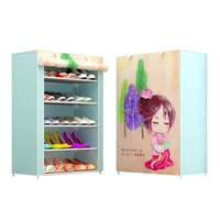Simple shoe rack multi layer household dustproof assembly economy dormitory small shoe rack storage cabinet fabric shoe cabinet|  -