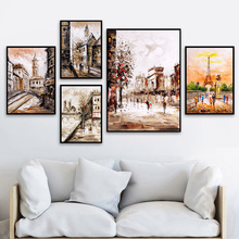 Romantic Paris Tower Landscape Wall Art Canvas Painting Nordic Posters And Prints Pictures For Living Room Decor