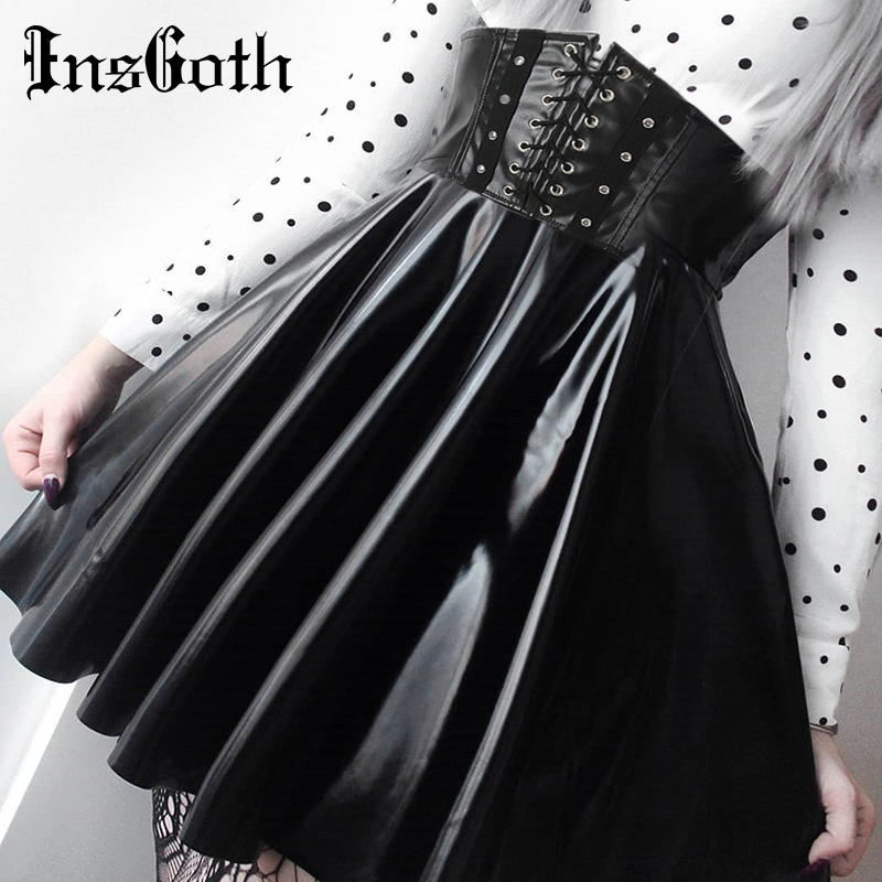 InsGoth Women Leather Skirts Gothic Harajuku Black Leather Pleated Skirts Lace Up Korean Streetwear Mini High Waist Lady Skirts