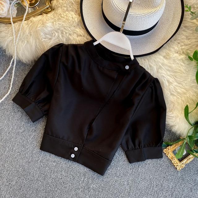 Gagaok 2020 Streetwear Women Blouse Spring Autumn New Solid O-Neck Puff Sleeve Short Slim Simple Chic Wild Female Fashion Shirts 2