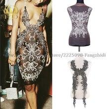 FZD 1 חתיכה גדילי אבן בגדי חרוזים ריינסטון Applique תיקוני עם גזה pompom ו שמלת ערב Diy קרפט פסים